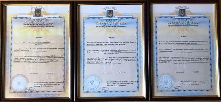 Циганенко Лілія Федорівна має 3 свідоцтва про авторське право (№ 94861 від 19.12.2019 р., № 95374 від 14.01.2020 р., № 95375 від 14.01.2020 р.).