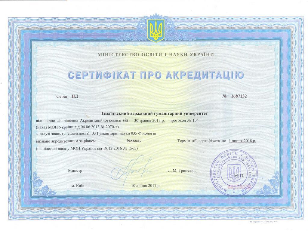 Сертифікат ІДГУ 035 Філологія бакалавр