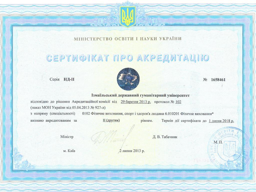 Сертифікат ІДГУ 6.010201 Фізичне виховання*