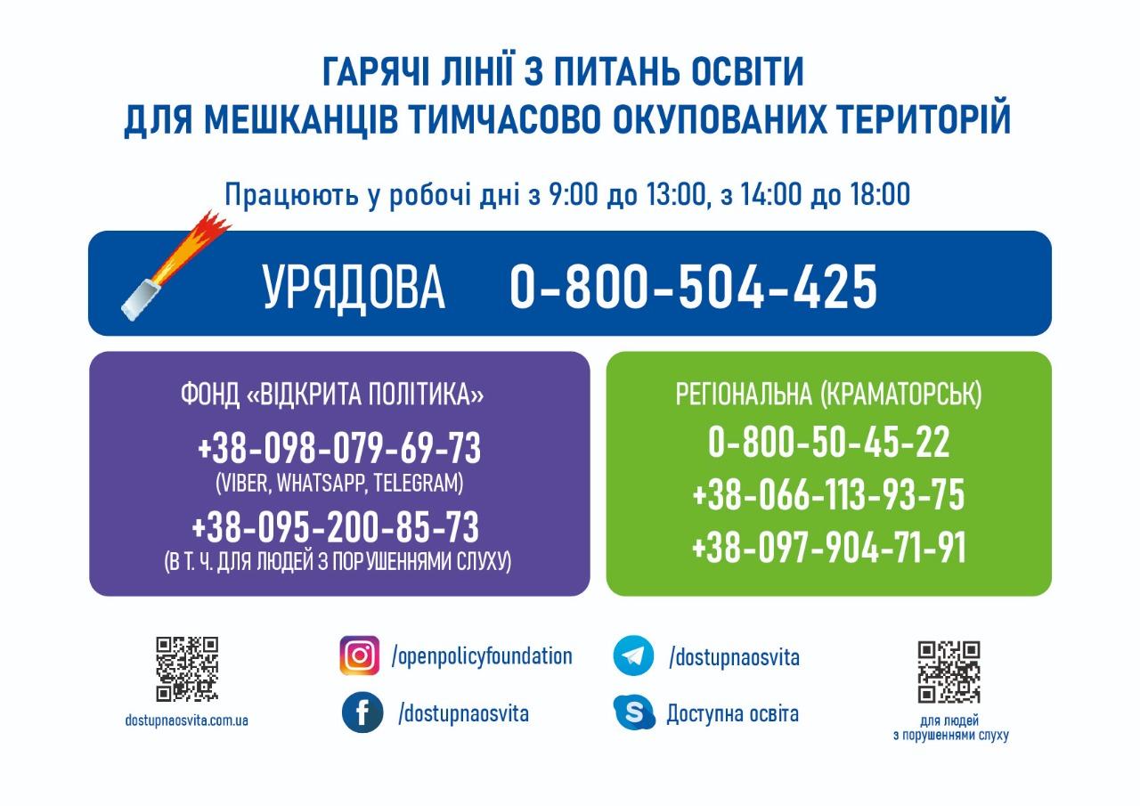 Телефони гарячої лінії «Крим-Україна»