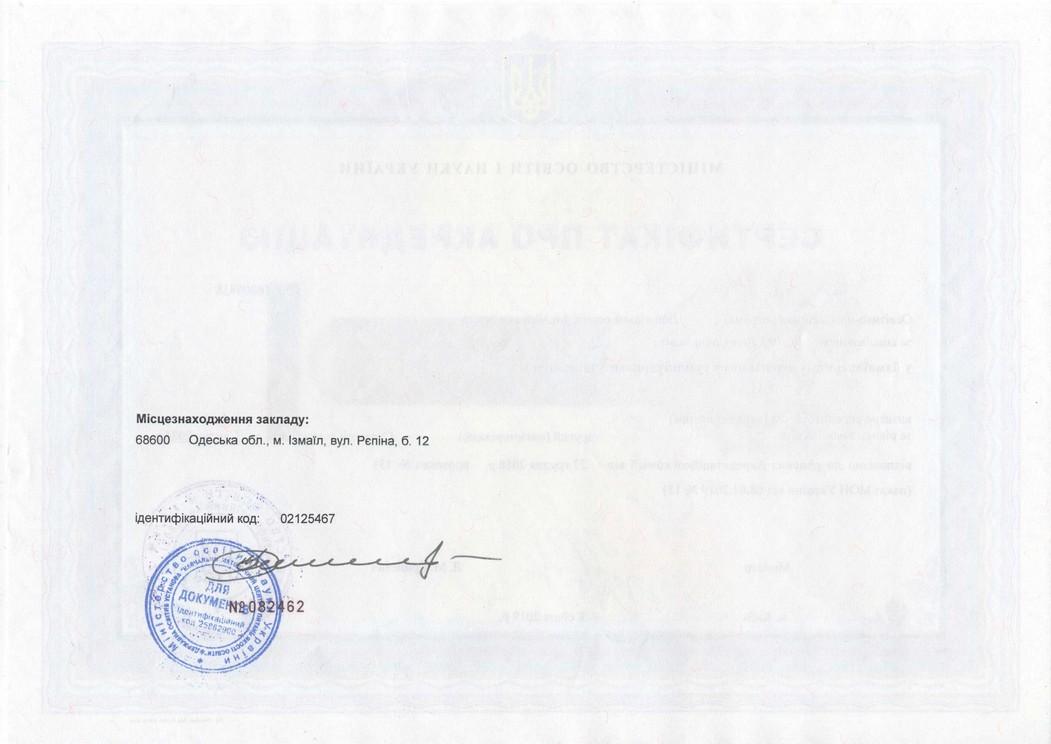Сертифікат про акредитацію ОПП, магістр, 012 Дошкільна освіта